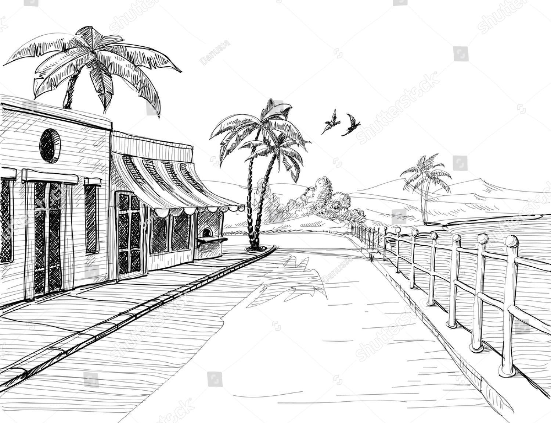 Городской пейзаж черно белый рисунки детей 4