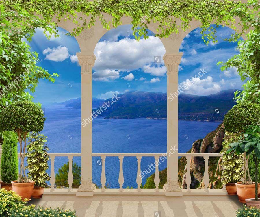 Купить фотообои красивые классические терраса с видом на сре.