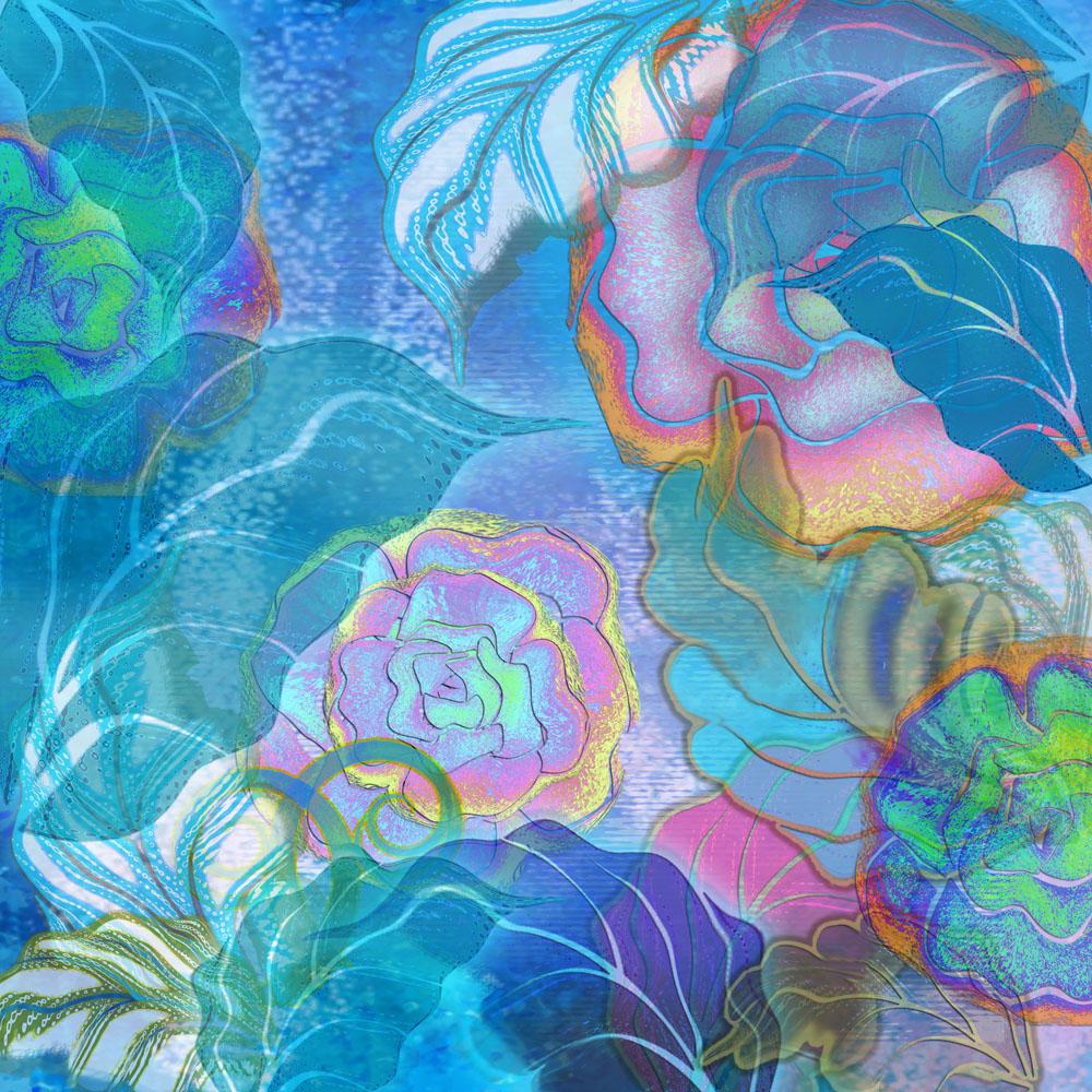 Фотообои синие цветы 0 р