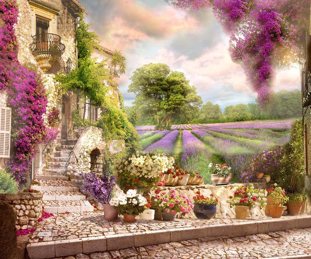 Фрески на стену в интерьере цветы